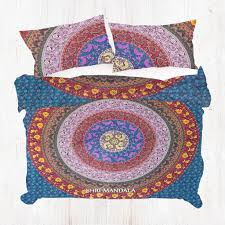 multi coloured mandala duvet cover set with same matching pillow covers