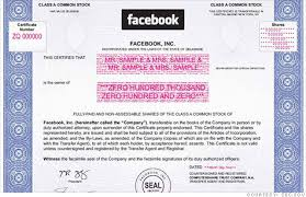 Stock Certificats Facebook Scraps Its Paper Stock Certificates May 22 2012