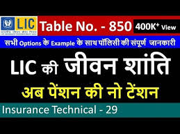 Lic Jeevan Shanti Chart Lic Jeevan Shanti Table No 850 With Example Of All Options Life Insurance Policy