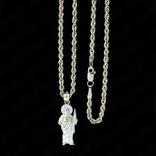 details about real 10k yellow gold saint jude san judas pendant with 2mm rope chain necklace