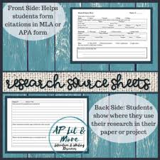 Research Paper Source Research Source Sheet By Ap Lit And More Literature And Writing
