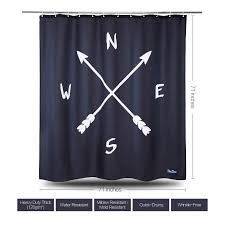 enaezen black white fabric compass shower curtain including 12 hooks