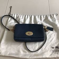 Authentic Coach embossed python blue sling bag, Women s Fashion ...