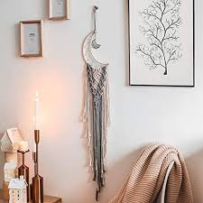 The flowers draw out the colors and add to the playful effect. Amazon Com Joxjoz Moon Macrame Wall Hanging Feather Dream Catches Boho Tapestry Cotton Woven Home Decor Handmade Decoration For Kids Room Party Wedding Ornament Craft Gift Beige Grey Kitchen Dining