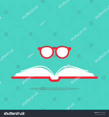 opened book with red book cover and round red gles on blue background flat reading