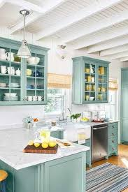 beach kitchen design. Beach Cottage Kitchen Remodel With Teal Custom Cabinets, Subway Tile, Marble Countertops. Cabinet Paint - See Benjamin Moore\u0027s Stratton Blue Design I