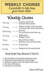 schedule weekly weekly chore schedule home ec 101