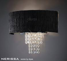 diyas lighting il30271 bl nerissa wall lamp with black shade 2 light polished