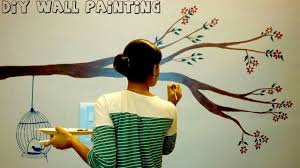 diy simple tree wall painting for any room wall painting tutorial 2017 how to paint tree on wall