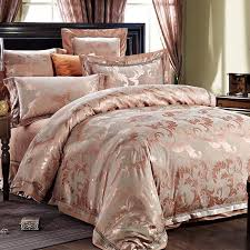 luxury rose gold and gray leaf pattern sequin vintage shabby chic jacquard satin full queen size bedding sets