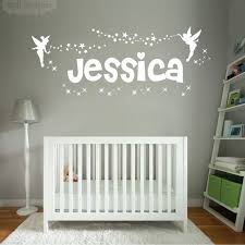personalised name girls wall art sticker fairies fairy disney tinkerbell and stars