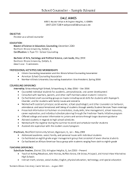 Sample Resume For High School Guidance Counselor New Adorable Sample