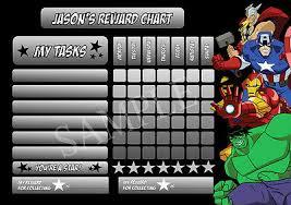 Avengers Superhero Personalised Reward Chart Behaviour Chore