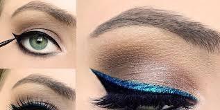 blue eyeliner makeup tutorial
