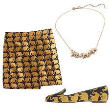 j crew elephant parade origami skirt and necklace