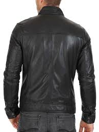 home men s new men s fitted dark grey leather jacket with zipper pockets