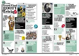 Designer Trivia Afl Record Grand Final Trivia Magazine Page Layouts