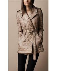 Burberry brit Short Diamond Quilted Trench Coat in Natural | Lyst & Burberry Brit. Women's Natural Short Diamond Quilted Trench Coat Adamdwight.com