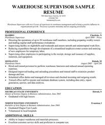 Warehouse Supervisor Resume Gorgeous Warehouse Supervisor Resume Sample IPASPHOTO