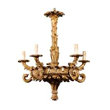 french five light foliage themed giltwood carved chandelier early 20th century