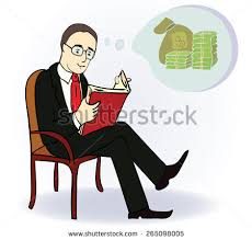 man reading book and think about money cartoon ilration vector ilration