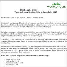 Thinkopolis Top Job Skills In Canada In 2015 Workopolis