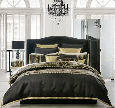 Athena Quilt Cover Set Range Black   Manchester Warehouse ... & Characteristics of the Athena Black quilt cover set by Davinci Private  Collection: Quilt Cover – black woven jacquard, two rows of woven metallic  gold Greek ... Adamdwight.com