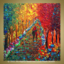 original modern abstract palette knife impasto oil painting abstract fall art