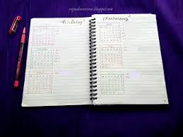 Birthday Anniversary Calendar My Indian Version Bullet Journal Yearly Calendar And Birthday