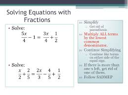 solving equations with fractions simplify o get rid of pahesis