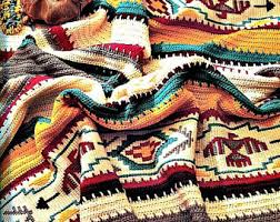 navajo designs patterns. Vintage Crochet Afghan Indian Blanket Pattern PDF Instant Digital Download S Navajo Southwestern Aztec Design 45x64 Designs Patterns