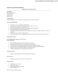 Dump Truck Driver Job Description Resume Choppix