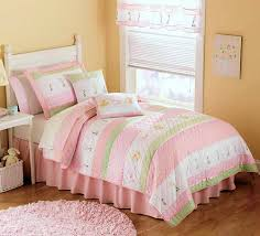 Pastel Pink & Green Bedding for Girls Twin Size 2pc Quilt Set ... & Pastel Pink & Green Bedding for Girls Twin Size 2pc Quilt Set - Kids  Bedspread Tara Adamdwight.com