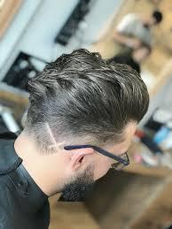Cross Haircut Design Textured Pompadour Inverted Cross Design