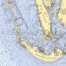 Pine Island Sound Chart Florida Captiva Nautical Chart Decor