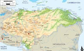 physical map of honduras  ezilon maps