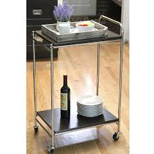 Mygift 2 Tier Chrome Plated Stainless Steel Rolling Service Cart Hotel Grade Kitchen Food Server Whandle