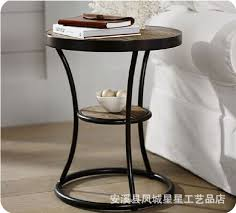 American retro wood wrought iron coffee table sofa side iron wood loft  angle of small round coffee table