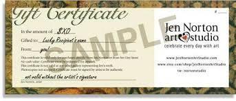 Gift Certificate Wording Gift Certificates Jen Norton Art Studio 241720500412 Gift
