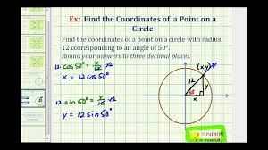 ex find the point on a circle given an angle and the radius