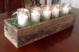 Fall Table Decorations With Mason Jars Reclaimed Wooden Centerpiece For Rustic Fall Themed Also Nature 29