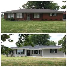 painted exterior ranch style house before and after added onto front of house and extended