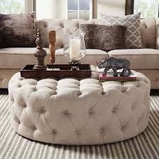 round tufted ottoman coffee table knightsbridge round tufted cocktail ottoman with casters by