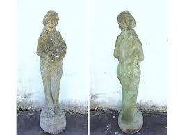 vintage garden statue of a lady flowers h 79 cm stone heavyweight elegant