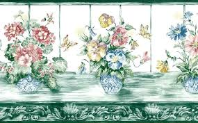 Flower Wall Paper Border Green Floral Vintage Wallpaper Border Butterflies 148206 Free Ship