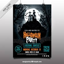 halloween sale flyer halloween party poster with haunted house vector free download
