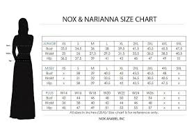 Nox Anabel Size Chart Size Chart Nox Anabel Brudepiger