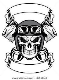 <b>skull</b> wearing retro <b>motorbike helmet</b> | <b>Skull</b>, <b>Helmet</b> tattoo, Art logo