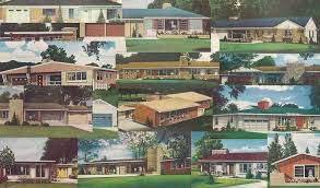 these drawings from a vintage building plan book show the suburban ranch in all