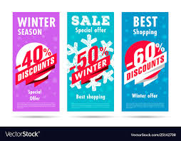 Special Offer Flyer Winter Flyers Set With Snowflacke And Discount